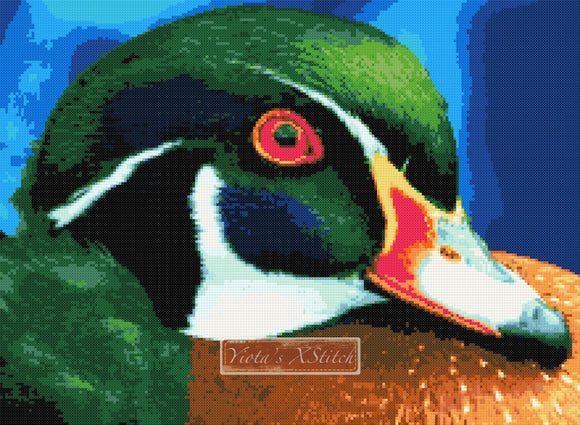 Close up duck counted cross stitch kit