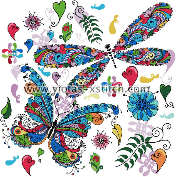 Colourful butterflies counted cross stitch kit