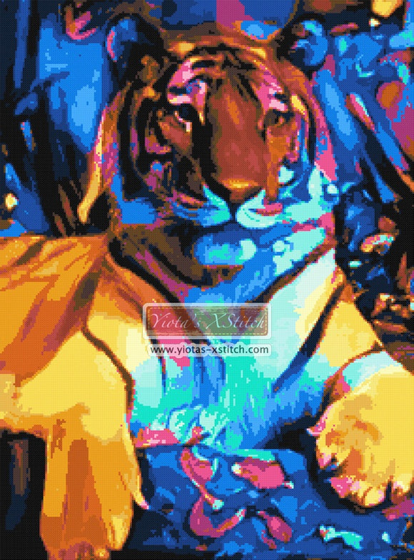 Colourful abstract tiger counted cross stitch kit
