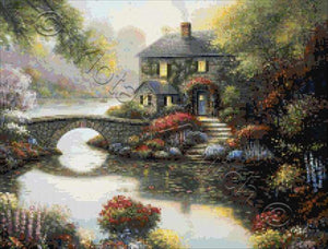 Complete serenity, a beautiful cottage by the lake counted cross stitch kit