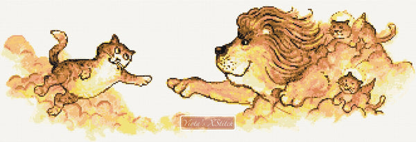 Creation of Adam, lion with cats counted cross stitch kit