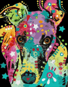 Curious greyhound by Dean Russo in counted cross stitch kit