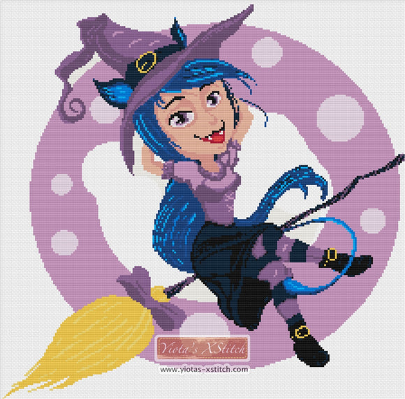 Cute witch, Halloween gothic counted cross stitch kit