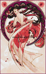 Dance by Mucha Art Nouveau counted cross stitch kit