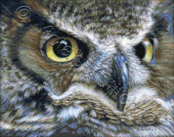 Dark owl counted cross stitch kit