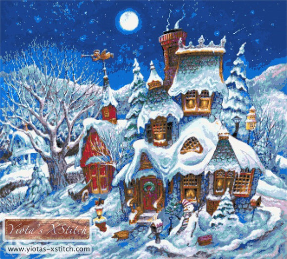 December snow, landscape large and advanced counted cross stitch kit