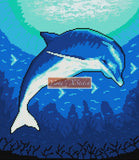 Deep sea dolphin counted cross stitch kit