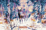 Deer in snowy forest counted cross stitch kit