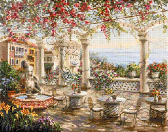 Dining on the terrace counted cross stitch kit