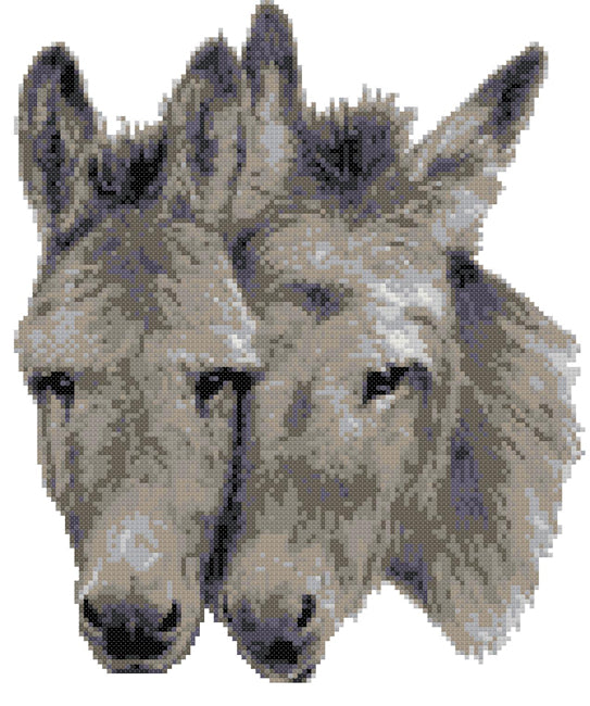 Donkey pair (v2) counted cross stitch kit