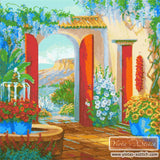 A beautiful seaside patio veranda with flowers in counted cross stitch kit