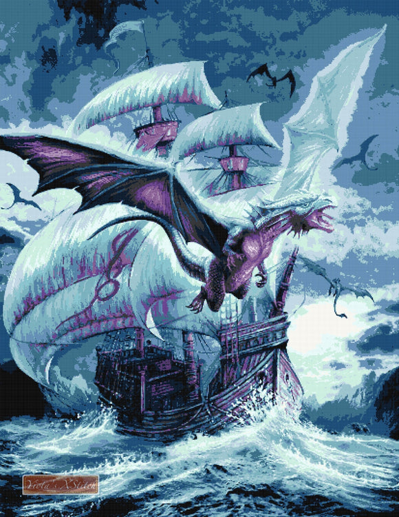 Dragon and ship counted cross stitch kit