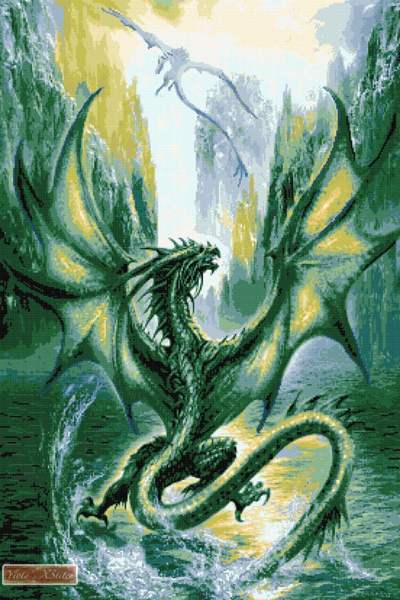Dragon from the lake counted cross stitch kit