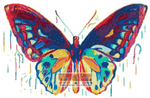 Drip butterfly counted cross stitch kit