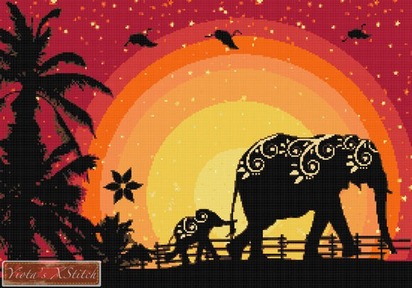 Elephant family counted cross stitch kit