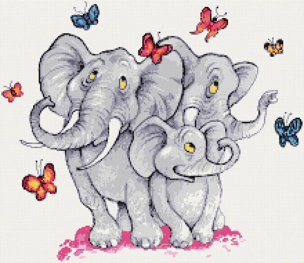 Elephants and butterflies counted cross stitch kit