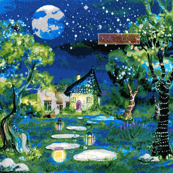 Enchanted forest, landscape counted cross stitch kit