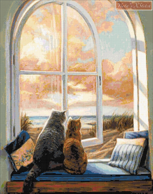Enjoying the view cats counted cross stitch kit
