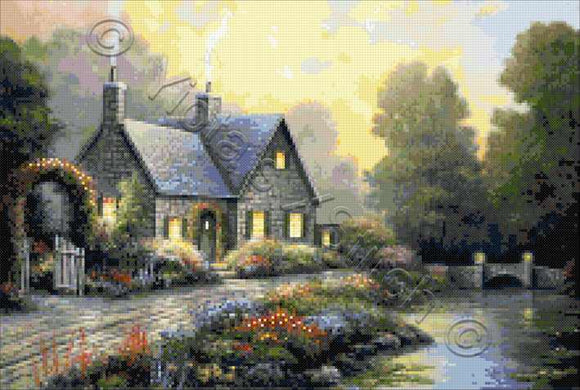 Evening splendor, a beautiful cottage by the lake counted cross stitch kit
