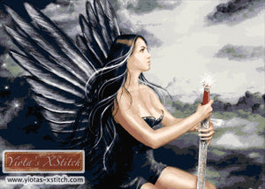 Fantasy black angel large and advanced cross stitch kit