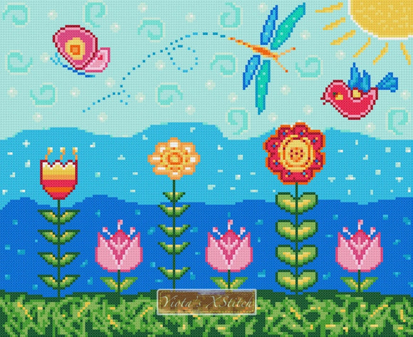 Field of flowers counted cross stitch kit