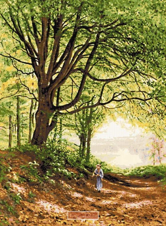 Figure on a woodland path, a landscape counted cross stitch kit