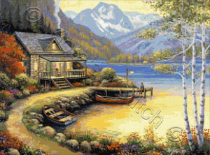 Fishing at the lake, a beautiful cottage by the lake counted cross stitch kit