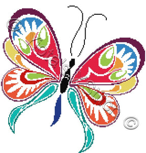 Floral butterfly No2 counted cross stitch kit