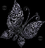 Floral butterfly in gray counted cross stitch kit
