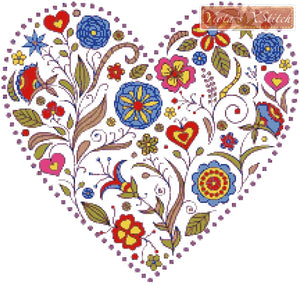 Floral heart No2 counted cross stitch kit