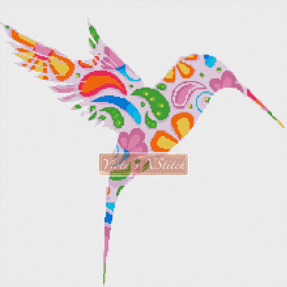 Floral hummingbird counted cross stitch kit