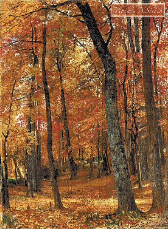 Forest interior, autumn landscape counted cross stitch kit