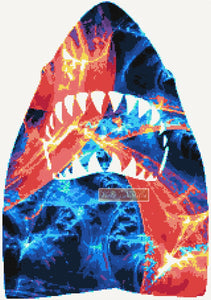Fractal shark counted cross stitch kit