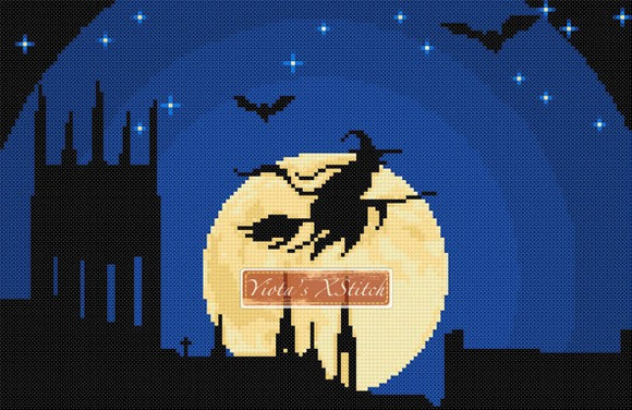 Full moon witch Halloween gothic counted cross stitch kit