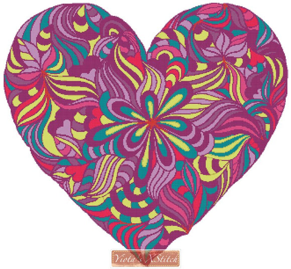 Funky heart counted cross stitch kit