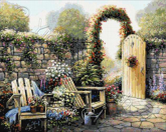 Garden patio counted cross stitch kit