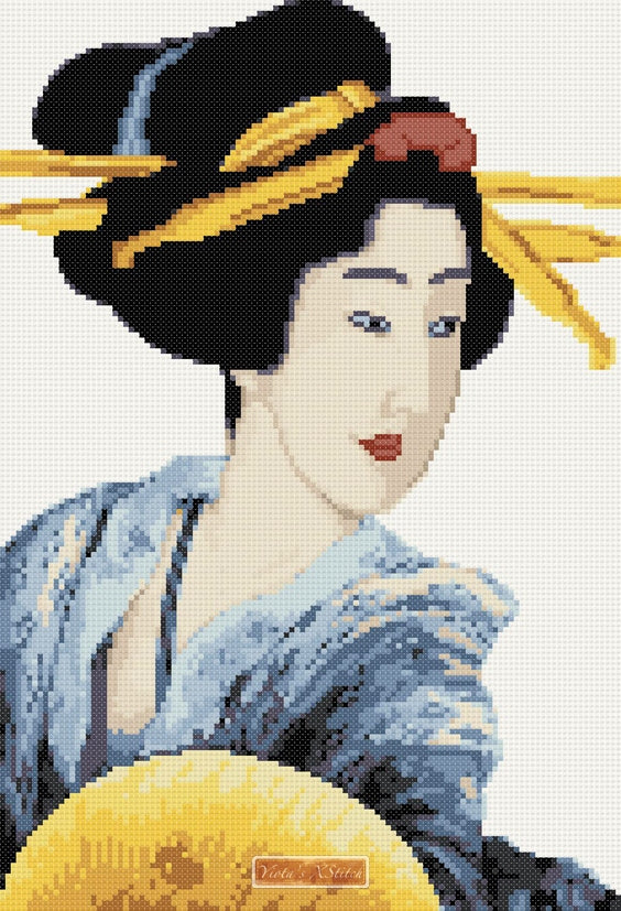 Geisha with fan by Katsushika Hokusai in counted cross stitch kit