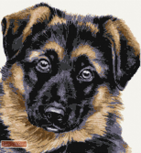 German Shepherd puppy counted cross stitch kit