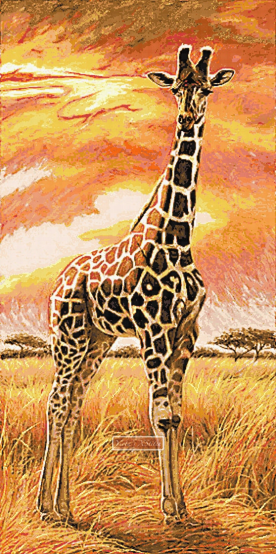 Giraffe sunset,  extra large and advanced counted cross stitch kit.