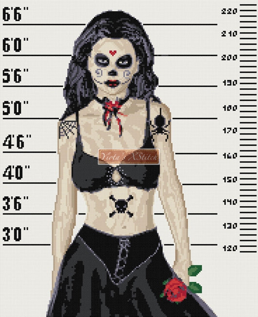 Girl arrested gothic counted cross stitch kit