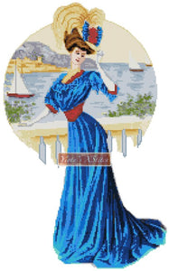 Victorian girl with blue silk dress counted cross stitch kit