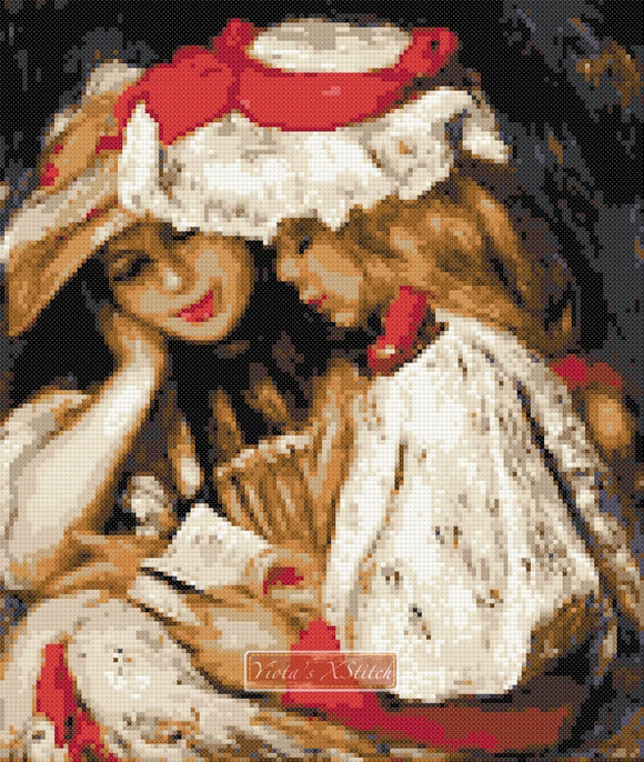 Girls reading by Renoir (v2) counted cross stitch kit