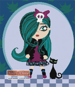 Gothic girl with cat counted cross stitch kit