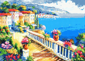 Greece beach counted cross stitch kit