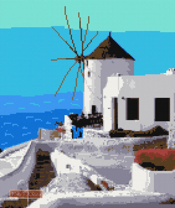 Greek windmill counted cross stitch kit