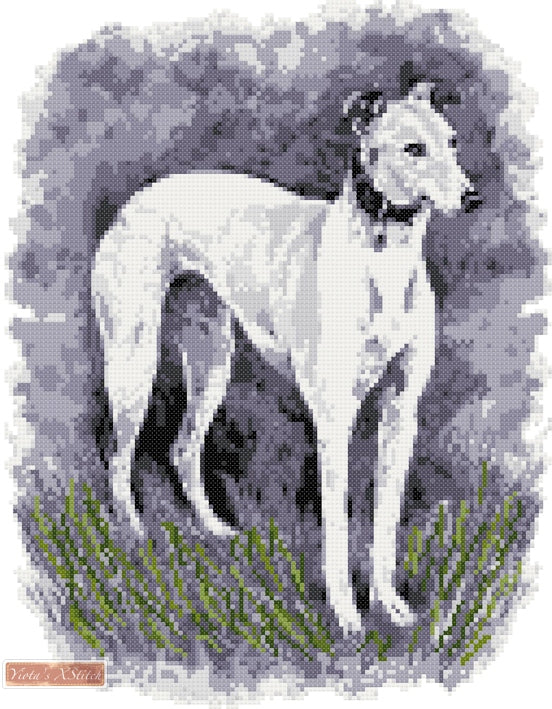 Greyhound standing counted cross stitch kit