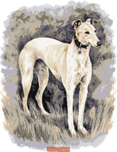 Greyhound counted cross stitch kit