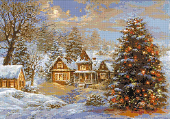 Happy holidays, Christmas tree counted cross stitch kit