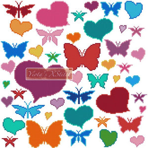 Hearts and butterflies counted cross stitch kit