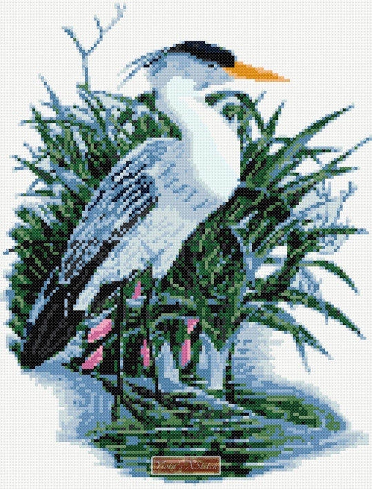 Heron counted cross stitch kit
